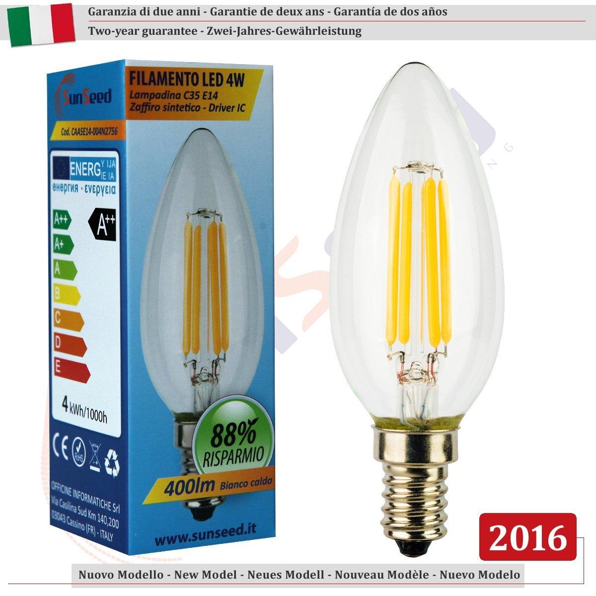 CODICE CAA5E14-004N2756 LAMPADA LED SUSEED FILAMENTOLED 4W LAMPADINA C35 E14 SAFFIRO SINTETICO - DRIVER IC